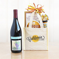 A Taste of California Mini Gourmet Tote with Red Wine