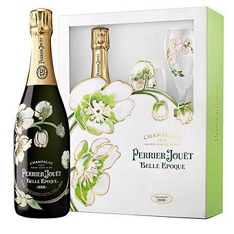 Perrier Jouet 2011 Belle Epoque Brut Champagne Gift Set w / Two Matching Painted Glasses