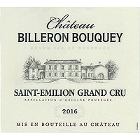 Chateau Billeron Bouquey 2016 Saint Emilion Grand Cru