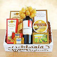 Golden State Wine Crate Gift Basket