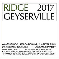 Ridge 2017 Geyserville, Alexander Valley
