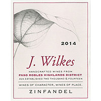 J. Wilkes 2014 Zinfandel, Highlands District, Paso Robles