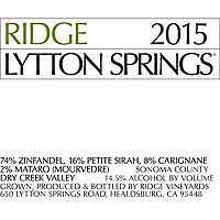 Ridge Vineyards 2015 Lytton Springs Zinfandel Blend, Dry Creek Valley