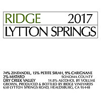 Ridge Vineyards 2017 Lytton Springs Zinfandel Blend, Dry Creek Valley