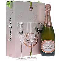 Perrier Jouet Blason Rose Brut NV Champagne Gift Set w / Two Matching Glasses